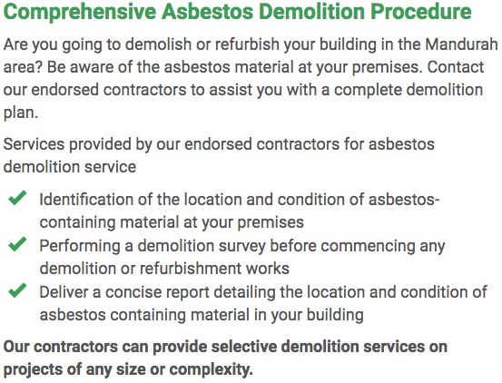 Asbestos Watch Mandurah - demolition right