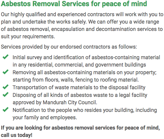 Asbestos Watch Mandurah - removal right