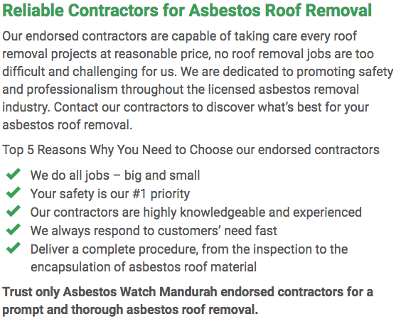 Asbestos Watch Mandurah - roof removal left