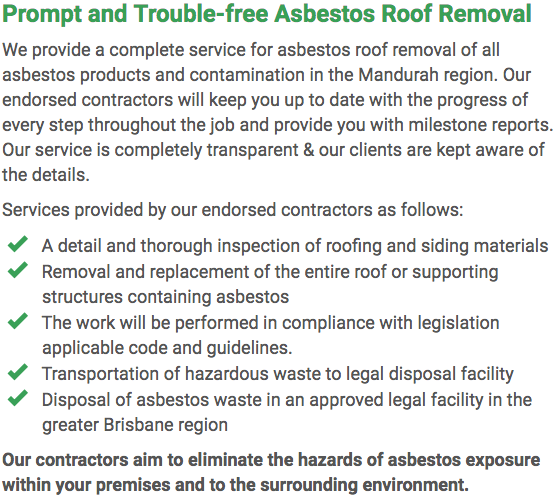 Asbestos Watch Mandurah - roof removal right
